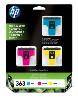 HP 363 originele cyaan/magenta/gele inktcartridges, 3-pack