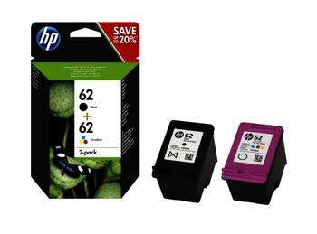 HP 62 originele zwarte/drie-kleuren inktcartridges, 2-pack
