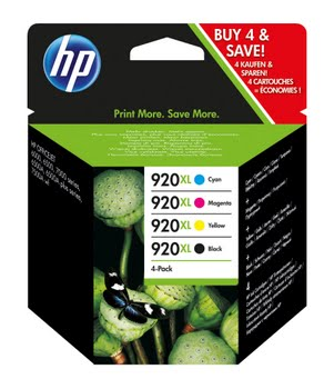 HP 920XL originele high-capacity zwarte/cyaan/magenta/gele inktcartridges, 4-pack