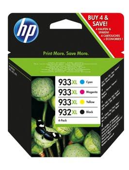 HP 932XL originele zwarte/933XL cyaan/magenta/gele inktcartridges, 4-pack