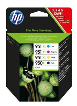 HP 950XL originele zwarte/951XL cyaan/magenta/gele inktcartridges, 4-pack