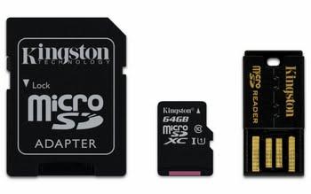 Kingston Technology Mobility kit / Multi Kit 64GB 64GB MicroSDXC UHS Klasse 10 flashgeheugen