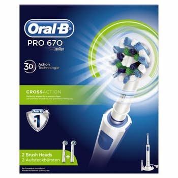 Oral-B PRO 670 CrossAction Volwassene Roterende-oscillerende tandenborstel Blauw, Wit