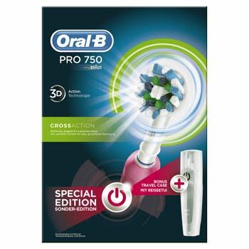 Oral-B PRO 750 Roterende-oscillerende tandenborstel Roze, Wit