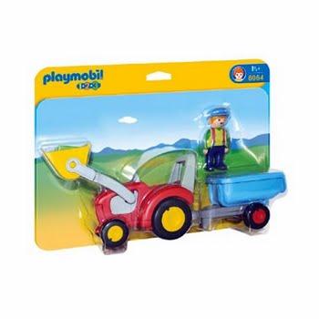 PLAYMOBIL 1.2.3 boer met tractor en aanhangwagen 6964