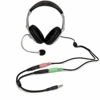 StarTech.com Headsetadapter voor headsets met aparte koptelefoon-/microfoonstekkers 3,5 mm 4 positie naar 2x 3 positie 3,5 mm M/F