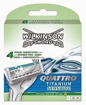 Wilkinson Quattro Scheermesjes Titanium Sensitive 8stuks