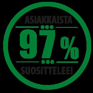 97 % asiakkaistamme suosittelee