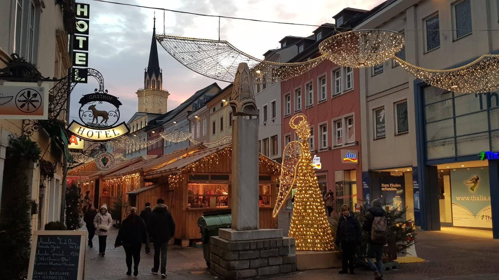 Centro di Villach durante le festività di fine anno