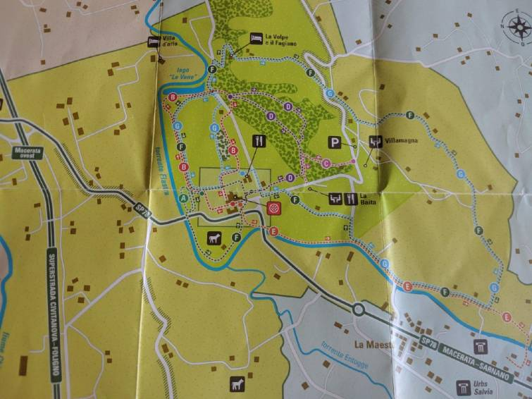 Mappa dei percorsi della Riserva Naturale Abbadia di Fiastra
