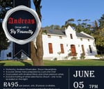Dinner with a Big Personality at Andreas Wine Farm : Andreas Wine and Luxury Accommodation