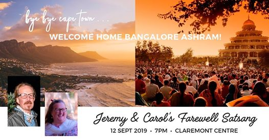 Jeremy & Carol's Farewell Satsang : Art of Living Cape Town Claremont Centre