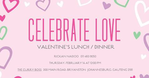 Valentine's Lunch / Dinner (R225 pp) : The Curry Boss - Restaurant, Bar & Venue