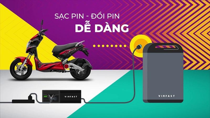 Xe VinFast Impes sử dụng pin Lithium-ion gọn nhẹ, dễ dàng sạc và đổi pin