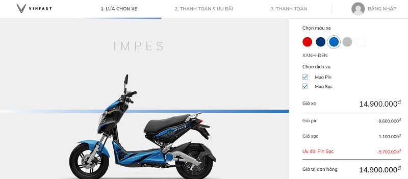 Mua xe máy điện VinFast Impes online dễ dàng