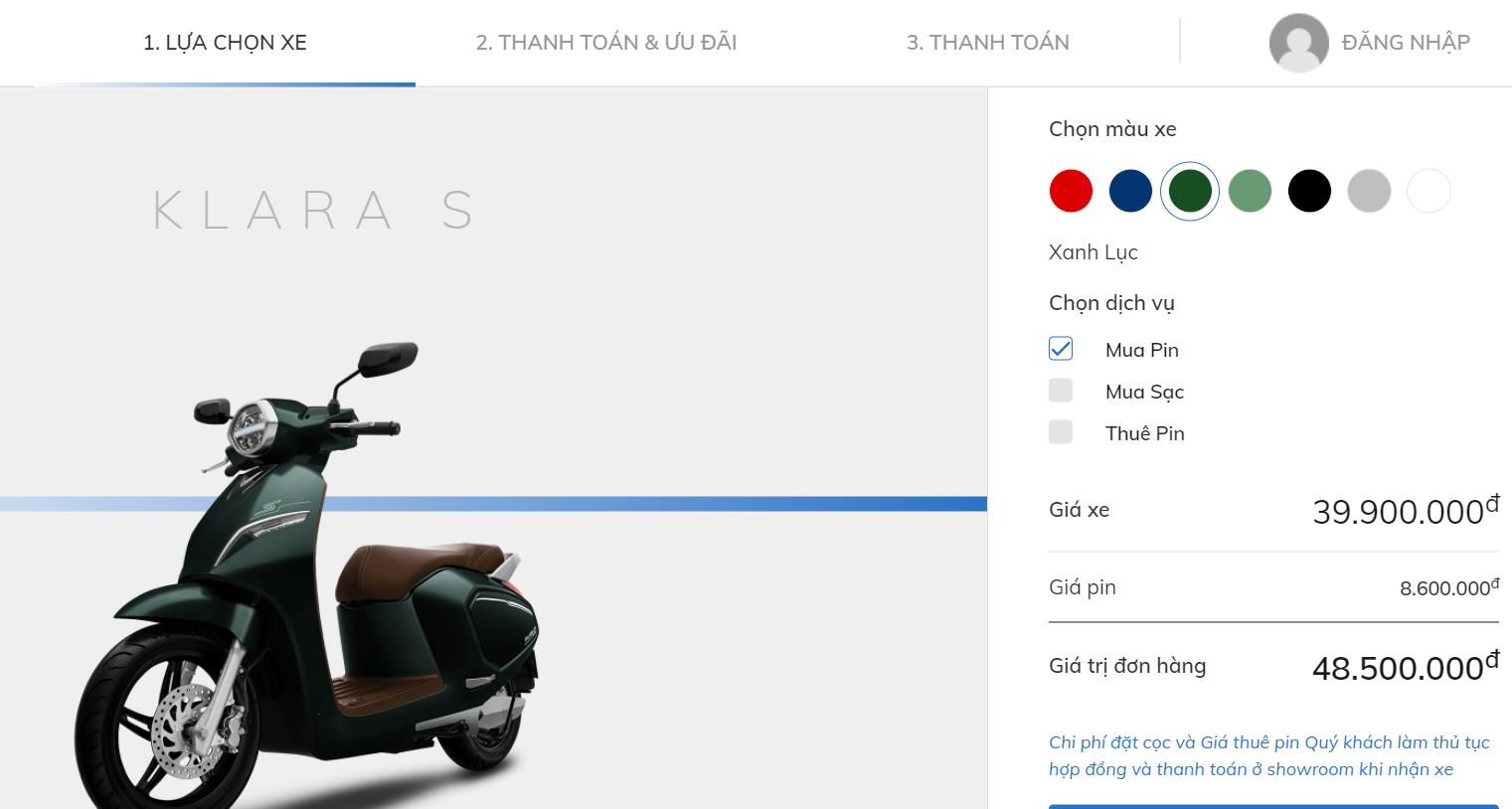 Mua xe máy điện Vinfast online với vài bước đơn giản (Nguồn: CTV cap màn hình)