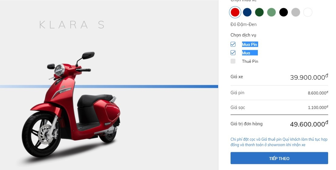 Giá xe VinFast Klara S và những phụ kiện đi kèm