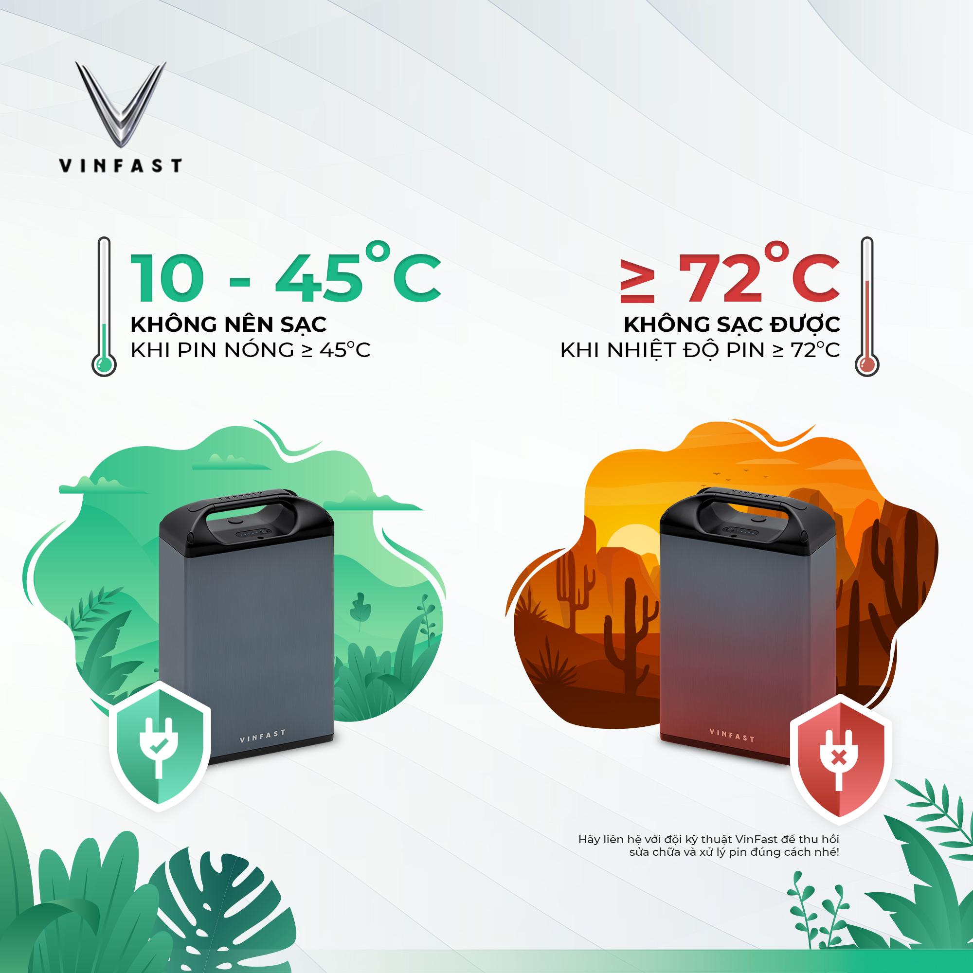 Nhiệt độ tối ưu để pin xe VinFast hoạt động bền bỉ là 10 - 45 độ C