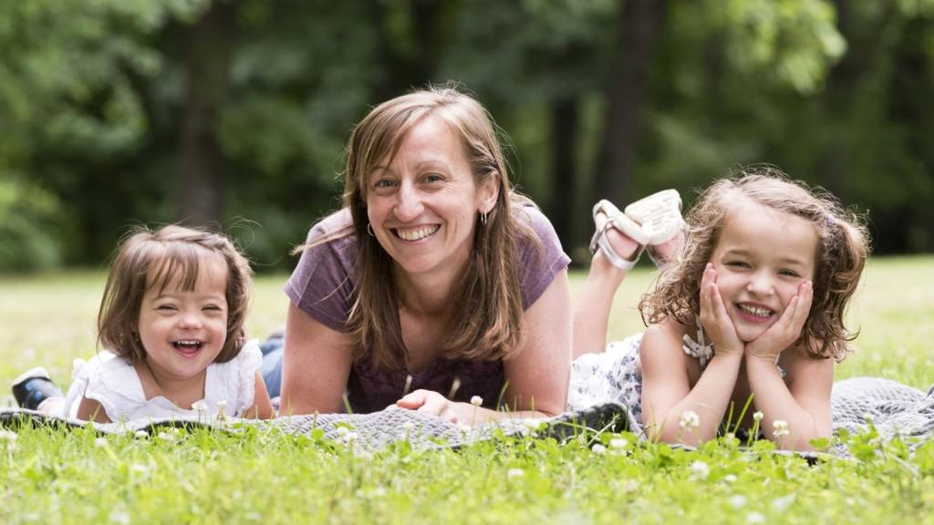 Katie Tracy Kishore and her daughters