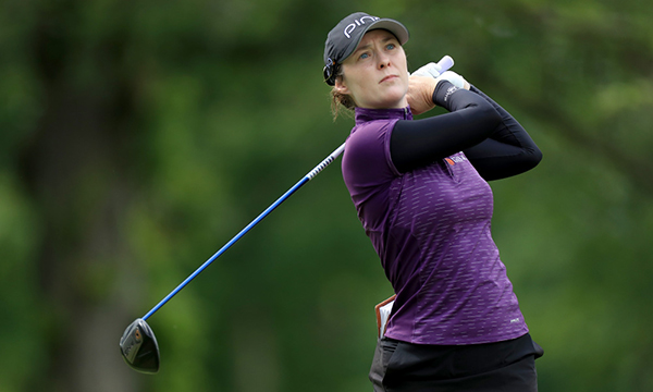 CHASKA, MINNESOTA - JUNE 21: Brittany Altomare of the United States plays her tee shot on the par 5, 15th hole during the second round of the 2019 KPMG Women's PGA Championship at Hazeltine National Golf Club on June 21, 2019 in Chaska, Minnesota. (Photo by David Cannon/Getty Images)