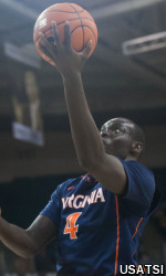 Marial Shayok had seven points, five rebounds and four assists in his first collegiate start.