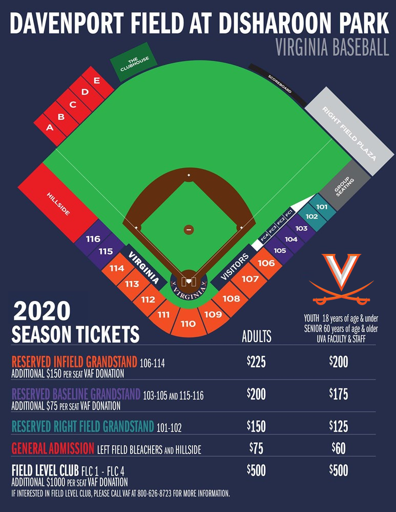 2020 Baseball - Disharoon Park Seating Diagram