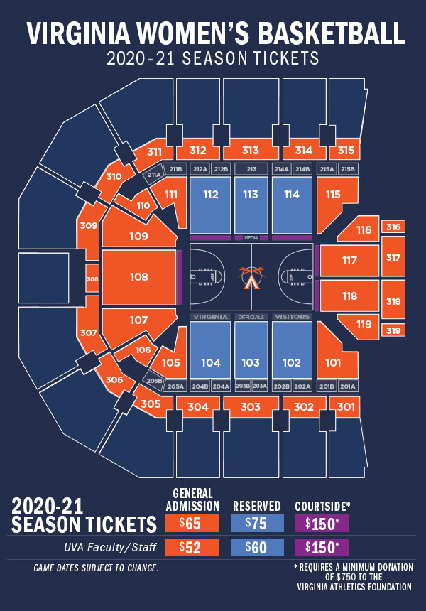 2020-21 Women's Basketball - JPJ Arena Seating Diagram
