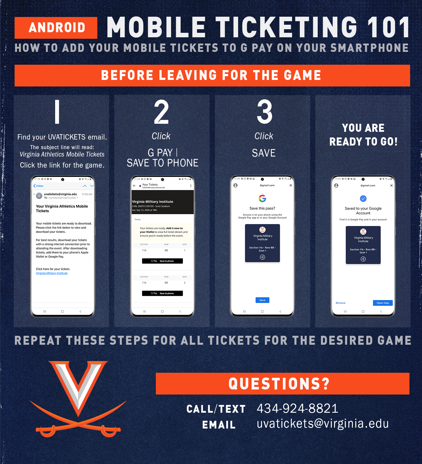 Mobile ticketing instructions for Android users
