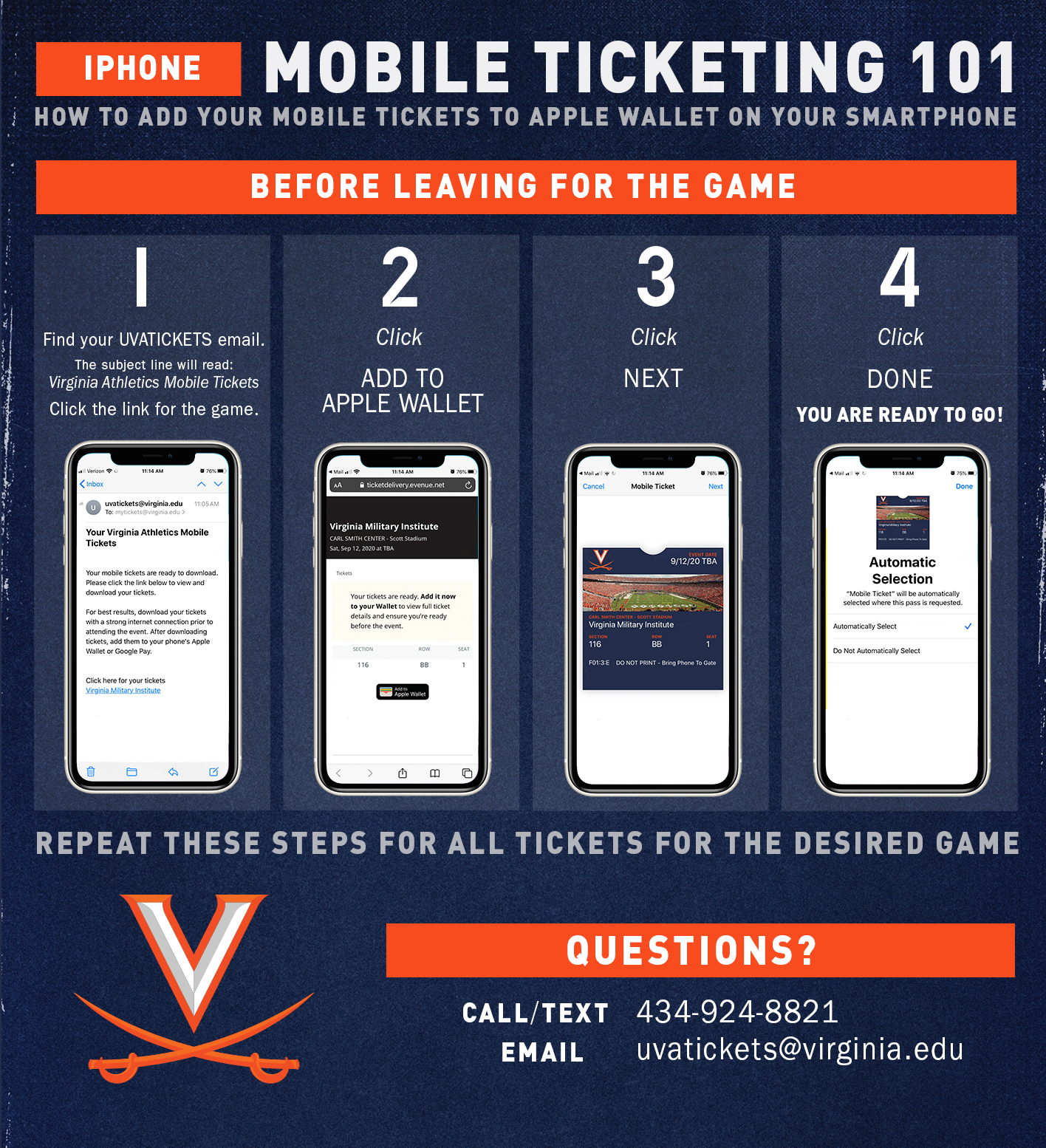 Mobile ticketing instructions for iPhone users
