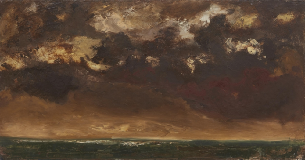 Jesse Murry, Middle Passage, 1989, oil and beeswax on canvas 26 x 50 inches.