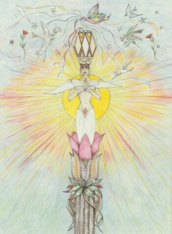 [Color drawing on paper with pastel colors of figure wearing an ornate crown, praying and standing on a giant rose with sun beaming behind and doves and roses flying above in the sky.]