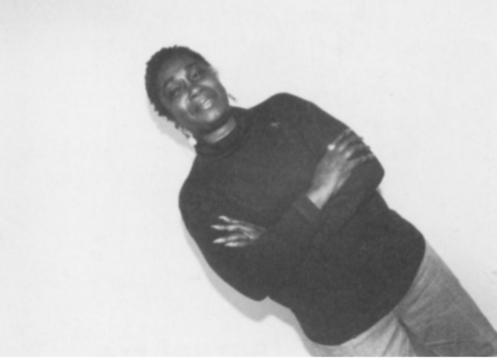 """Jacqueline Barnes with Ann Meredith, Self Portrait, 1996 Black and white photograph, 16"""" x 20"""" Source: Arts Communities/ AIDS Communities: Realizing the Archive Project, pg. 12"""