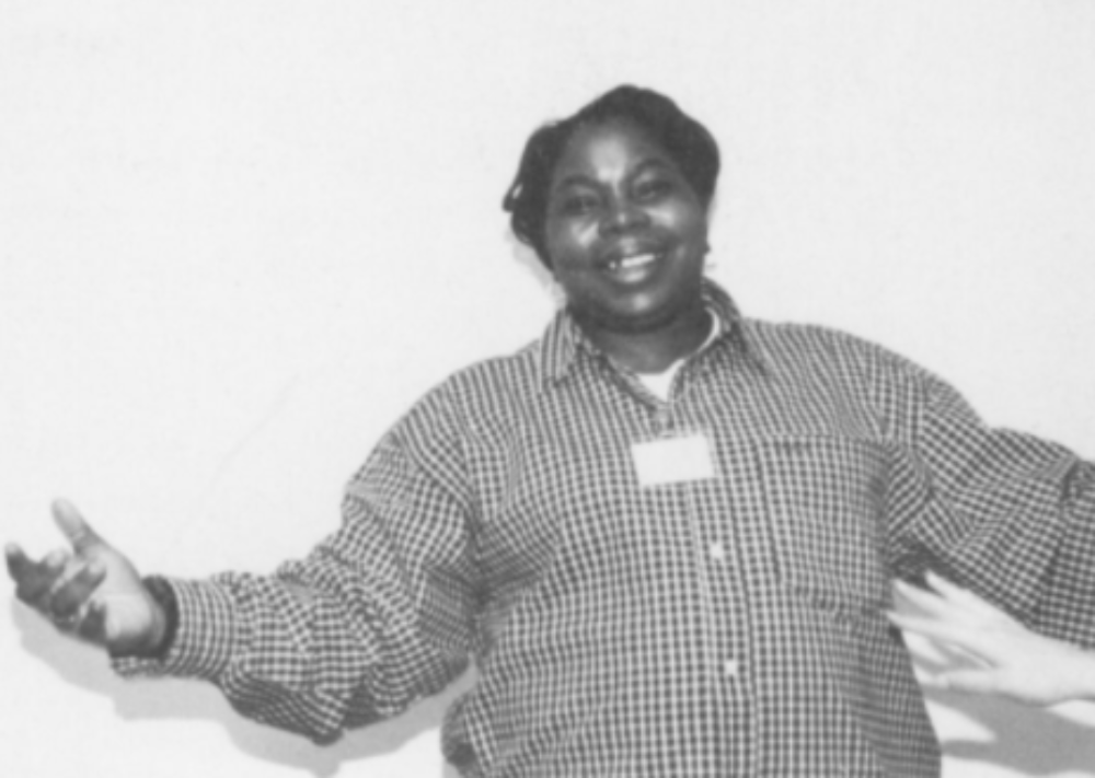 """Linda Ellis with Ann Meredith Self Portrait, 1996 Black and white photograph, 16"""" x 20"""" Source: Arts Communities/ AIDS Communities: Realizing the Archive Project, pg. 36"""
