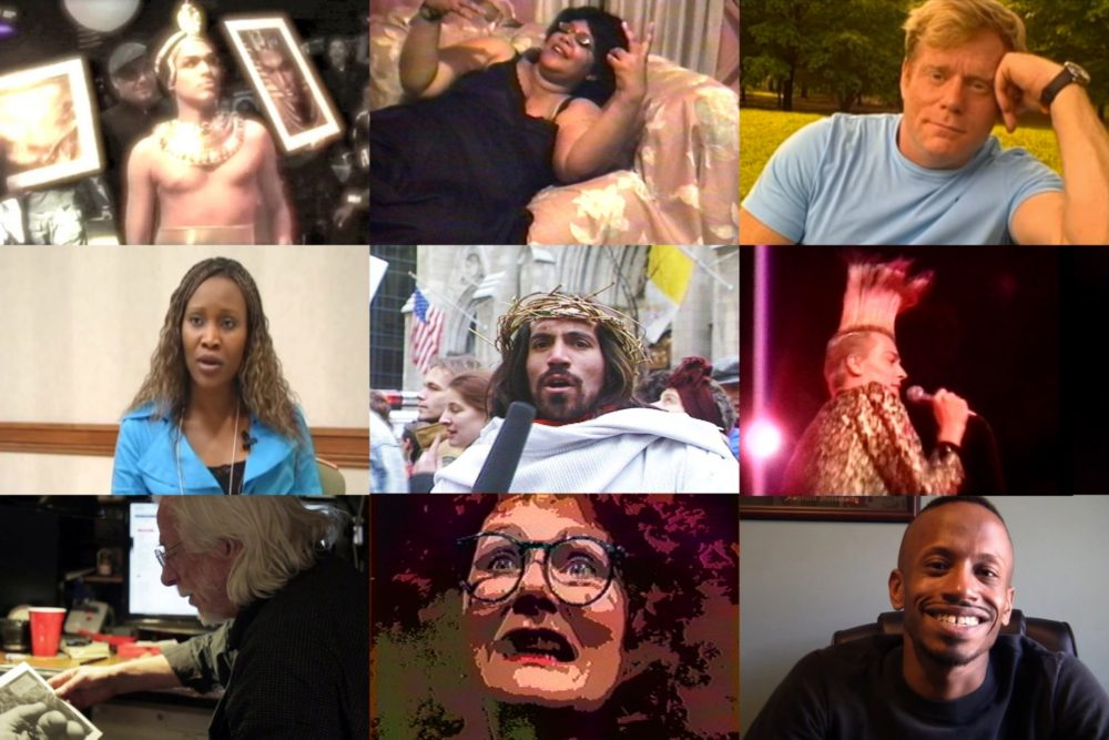 Video stills from participating artists, from top left: Luna Luis Ortiz, Juanita Muhammed, Mark S. King, Southern AIDS Living Quilt, Ray Navarro, Nelson Sullivan, James Wentzy, Carol Leigh aka Scarlot Harlot, and Justin B. Terry-Smith.