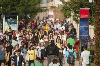 International students of CELOP walking on campus of Boston University