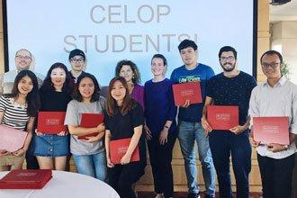 International students of the intensive English program of Boston University receiving their diploma