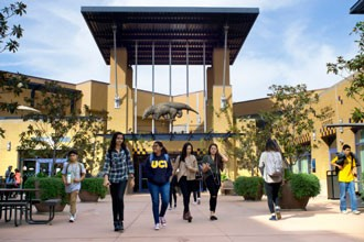 International students of the diploma programs walking on the campus of the University of California Irvine