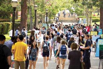UCLA students walking on campus