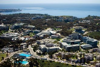 Aerial view of campus of University of California San Diego UCSD