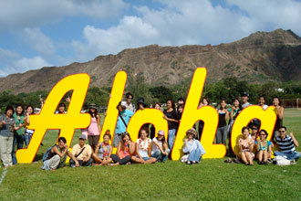 Group of students of the ESL programs of the University of Hawaii