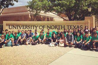 curso de inglés visitando el campus de la Universidad de North Texas en Denton