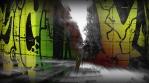 Running Man in Forest plus Graffiti