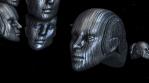 Abstract metallic robot heads. Sci-fi seamless background