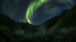 Strong aurora borealis over geothermal volcanic mountains Krysuvik Iceland