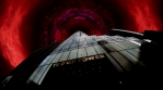 Trump tower abstract evil alien ufo hovering in dark red clouds