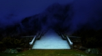 Zen bridge dusk, stairway crossing mountain valley fog, dark blue sky abstract