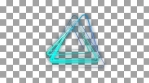 Glowing triangular looping 3D geometric shape