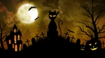 Scary Cat and Castle and Moon in Yellow Background
