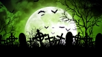 Moon Over Cemetery in Green Sky
