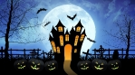Horror Castle with Moon in Blue Background